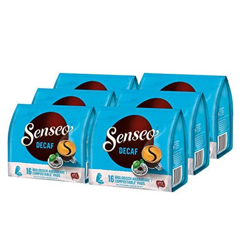 Senseo Decaf Kaffeepads Entkoffeiniert neues Design, 6er Pack, 6 x 16 Pads