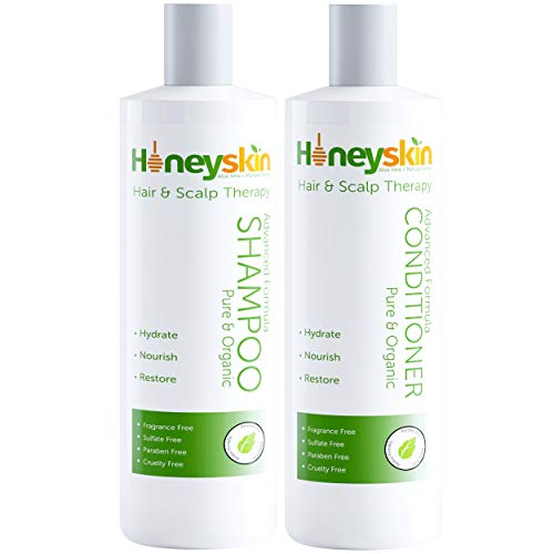 Hair Growth Shampoo and Conditioner Set - with Manuka Honey, Aloe Vera and Coconut Oil - for Frizzy, Itchy and Dry Scalp - Hair Loss and Thinning Treatment - Paraben and Sulfate Free (8oz)