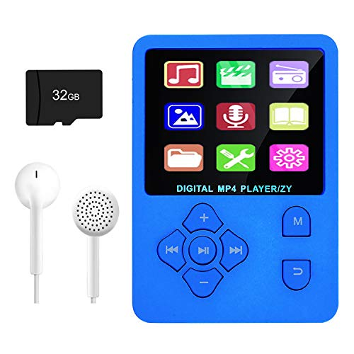 MP3 Player, Music Player with 32GB Micro SD Card, Portable Music Player with Build-in Speaker, HiFi Lossless Sound, FM Radio, Video Play, Voice Recorder, E-Book Reader