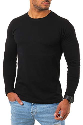 Young & Rich Herren Longsleeve Langarm Shirt mit Rundhals Ausschnitt Slim fit körperbetont 2237, Grösse:L, Farbe:Schwarz