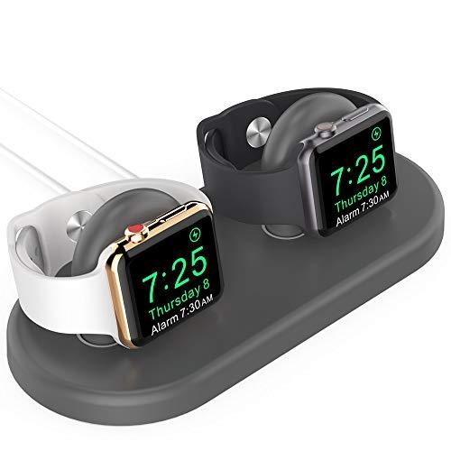 AHASTYLE Doppelkopf Aufladen Ständer Ladestation Kompatibel mit Apple Watch Series 5/4/3/2/1(44/42/40/38mm), Unterstützt den Night-Stand Modus (Dunkelgrau)