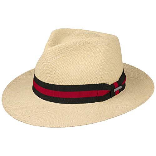 Stetson Rocaro Fedora Panamahut (56-63 cm) Damen/Herren - Made in Ecuador - Herrenhut aus Panamastroh - Ripsbandgarnitur - Reisehut mit Futterband aus Baumwolle - Frühjahr/Sommer Natur XXL (62-63 cm)