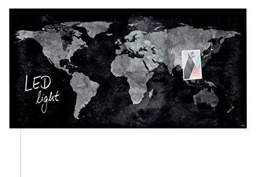 SIGEL GL409 Glas-Magnetboard 91 x 46 cm mit LED-Beleuchtung, World-Map / Magnettafel Artverum