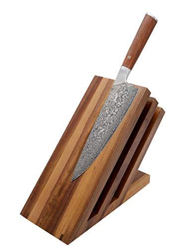 Zayiko hochwertiger magnetischer Messerblock Messerbrett Fächer Nussbaum für bis zu 6 Messer