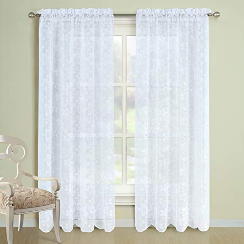 """DS CURTAIN Bauhinia White Scalloped Lace Rod Pocket Window Curtain,Translucentin Panels for Living Room and Bedroom,2pcs Panel Set:Each Size 54"""" W x 63"""" H,Total Size:108"""" W x 63"""" H"""