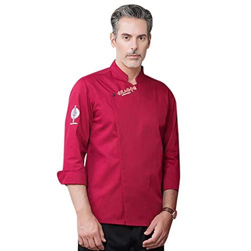 Dooxii Unisex Herren und Damen Herbst Langarm Kochjacke Professionel Atmungsaktiv Kuchen Backen Uniform Berufsbekleidung
