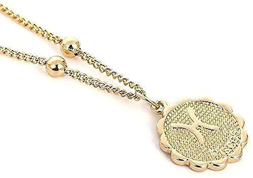LDKAIMLLN Co.,ltd Collar Mujer Hombre Colgante Constelación del Zodiaco Colgante Collar Cadena de constelación de Cobre Constelación Constelación Regalo de la joyería de Las Mujeres