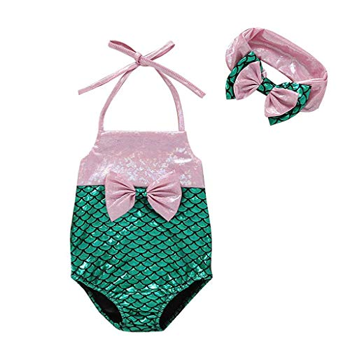 Jimmackey- Bambina Mare Costume Bagnarsi Spiaggia Costumi da Bagno Neonata Costume Intero Un Pezzo Stampa A Scala di Pesce Bikini + Fascia per Capelli Bimba