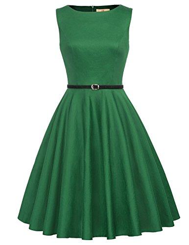 GRACE KARIN Retro Formal Swing Dress for Women with Belt Green M F-62