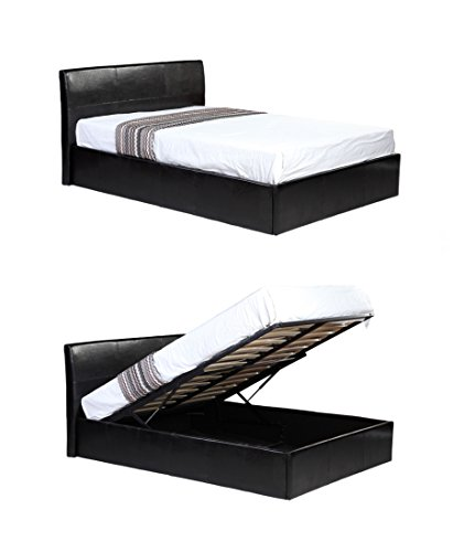 4ft Small Double Black Ottoman Lift Up Storage Faux Leather Bed - Also available in Brown or White - Master Bedroom Childrens Bedroom Teens Bedroom Guest Bedroom - Perfect for storing Shoes DVD's Bedding Clothes