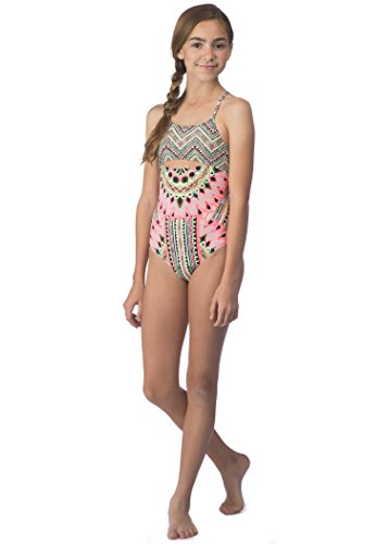Hobie Girls' Big Festival of Brights One Piece Swimsuit with Adjustable Strap, Multi, 7