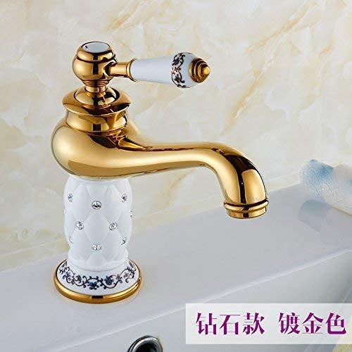 Alle Kupfer-Einloch-Waschtischmischer Konsole Tisch Waschbecken Waschbecken Eitelkeit der antiken Wasserhahn heiß und kalt, White Diamond 168