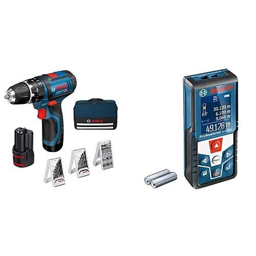 Bosch Professional 12V System Taladro percutor a batería GSB 12V-15, taladro de madera de Ø máx 19 mm, incl. 2x2,0 Ah batería + cargador, 3x juego de taladro + Medidor láser de distancia GLM 500