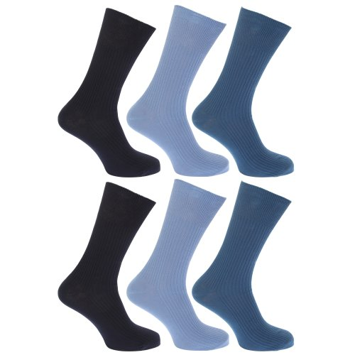 Floso Herren Socken, 100prozent Baumwolle, 6er-Pack (39-45 EUR) (Blautöne)