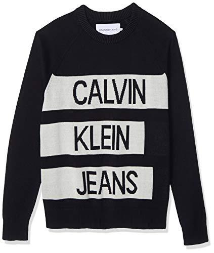 Calvin Klein Stacked Logo Cotton Sweater Maglione, CK Nero/Bianco Invernale, M Uomo