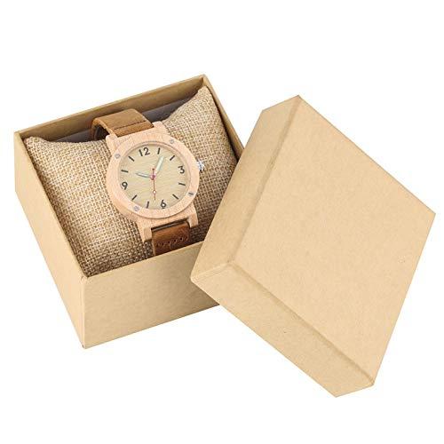 IOMLOP Reloj de Madera Reloj de Madera de Arce Relojes de Mujer Aguja Luminosa Reloj de Vestir para Mujer Banda de Cuero Reloj de Pulsera de Cuarzo Informal de Lujo, Reloj con Caja