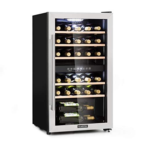 KLARSTEIN Vinamour - Cantinetta Vini, Frigorifero Vino, Classe G, 2 Zone di Raffreddamento, Intervallo di Temperatura: 5-22 °C, Touch Control, Acciaio Inox, Nero/Argento, 80 L, 29 Bottiglie