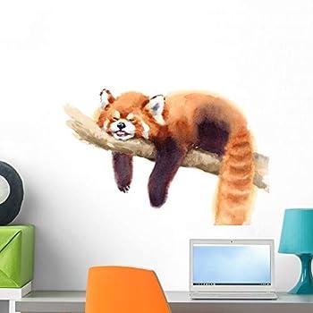 Wallmonkeys Watercolor Sleeping Red Panda Wall Decal Peel and Stick Animal Graphics  24 in W x 17 in H  WM502670