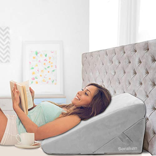 Wedge Pillow, Adjustable 9 &12 Inch Wedge Pillow for Sleeping, Memory Foam Bed Wedge Pillow with Removable Cover, Folding Incline Cushion for Legs and Back Support, Acid Reflux, Anti Snoring, Reading