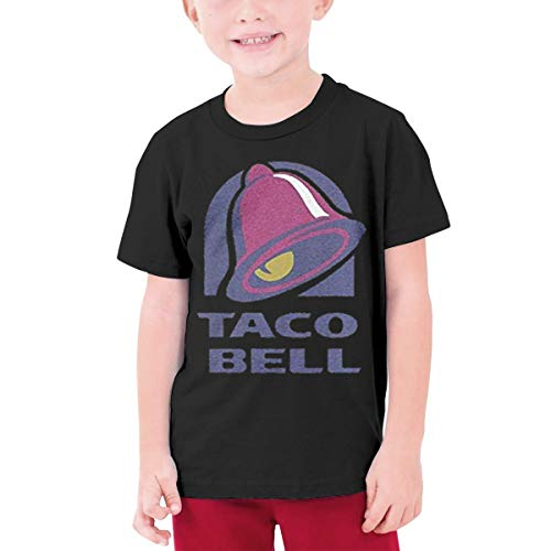 HiPiClothK Youth Boys&Grils Majestic Bell with Taco Personalized Casual Style Short Sleeve T-Shirt S Black