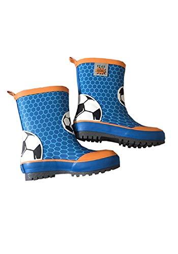 maximo, Kindergummistiefel, Regenstiefel für Jungen, blau/orange, Motiv Fußball (25 EU)