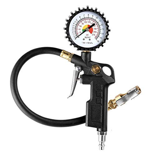 """CZC AUTO Tire Inflator Deflator Air Pressure Gauge with Rubber Hose, 2-1/2"""" Dial Wheel Inflator Gage with Straight Brass Lock-on Chuck Compatible with Air Pump Compressor for RV Car Motorcycle Bike"""