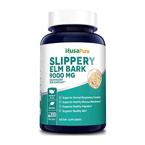 Slippery Elm Bark Extract 9000 mg 200 Veggie Capsules (Extract 20:1, Non-GMO & Gluten Free)