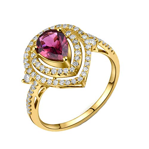 AnazoZ Gold and Rose Red Engagement Ring and Wedding Band for Women,18K Yellow Gold Rings for Women Water Drop 0.76ct Pink Tourmaline 0.46ct Diamond Ring Size K 1/2