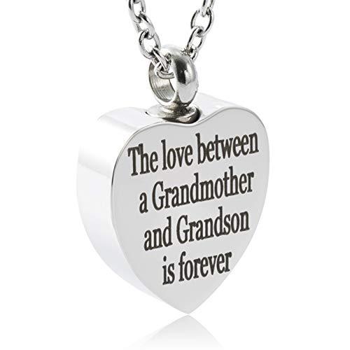FASJOY Cremation Ashes Jewelry Forever Love Grandma&Grandson Urn Necklace Memorial Keepsake Custom Pendant