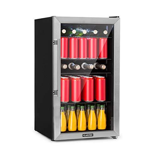 KLARSTEIN Beersafe XL - Refrigeratore Bevande, Frigorifero, Ripiani in Metallo, Porta a Vetro, Classe Energetica F, Libera Installazione, Frontale in Acciaio Inox, 98 L, Nero