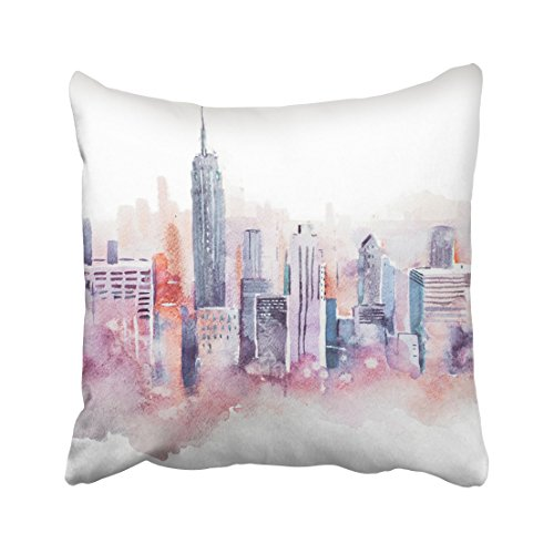 Emvency Nyc Watercolor Drawing Cityscape Big City Downtown Aquarelle Painting Street Urban Throw Pillow Covers 18'X18' Summer Decorative Pillowcases Polyester Cases Cushion Cover Case Double Sided