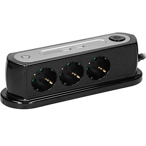 ORNO AE-13190(GS)/B Multipresa Da Scrivania Da Tavolo Con Interruttore 3 Prese 2 USB Schuko Lunghezza Cavo 1,4m Carico Max 3680W