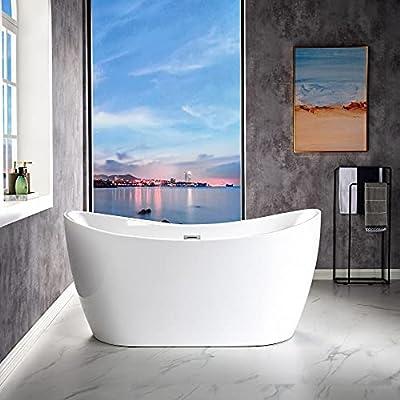 WOODBRIDGE BTA1516-B/N-Drain &O Bathtub, with Brushed Nickel Drian