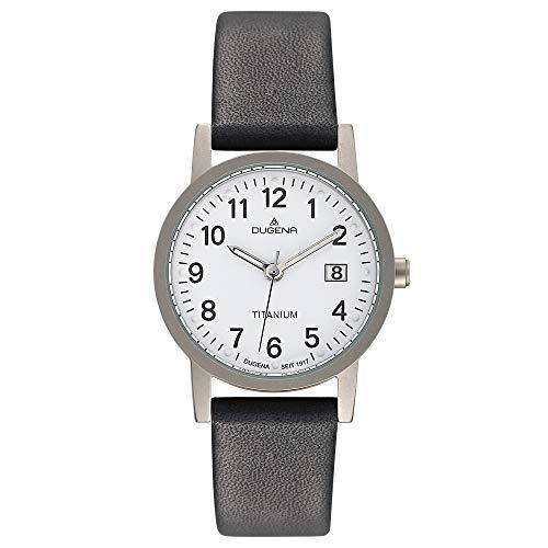 DUGENA Novum Unisex-Armbanduhr, Titangehäuse, Mineralglas, Lederarmband, Dornschließe, 5 bar (27 mm (klein))