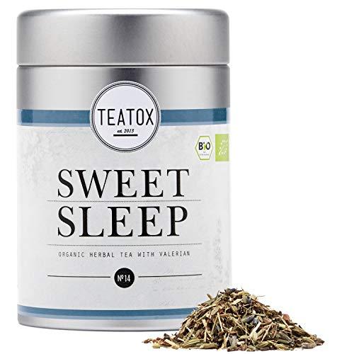 Teatox Bio herbata ziołowa Sweet Sleep na noc   luźna herbata z Baldrianu, anyżu gwiazdkowego i włosia włoskiego   uspokajająca, z przyjemną słodką   100% biologiczna i wegańska, bez aromatów i dodatków   60 g w puszce