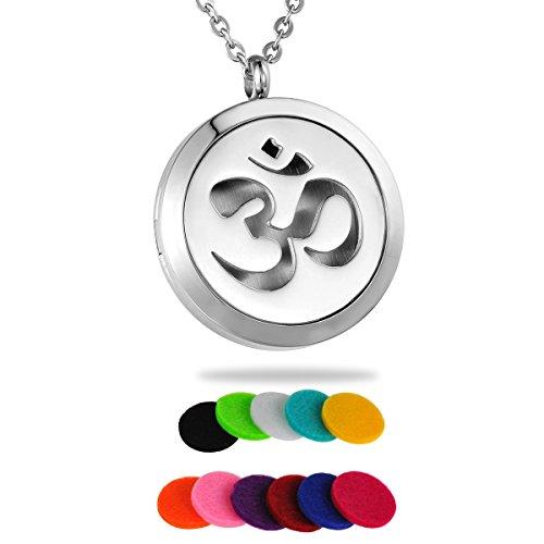 HOUSWEETY Fashion Aromatherapie aetherische oele Diffusor Halskette ohm om aum Yoga Pullover Kettenanhaenger mit 11 Pads