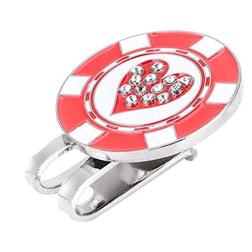 Golf hoed clip, hart diamant patroon metaal magnetische mini golfbal marker met hoed clip