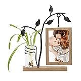 QTQZ Marco de Fotos de Madera 6x4 con jarrón y árbol de Metal Marcos de Fotos Familiares rústicos Adorno único de Doble Cara