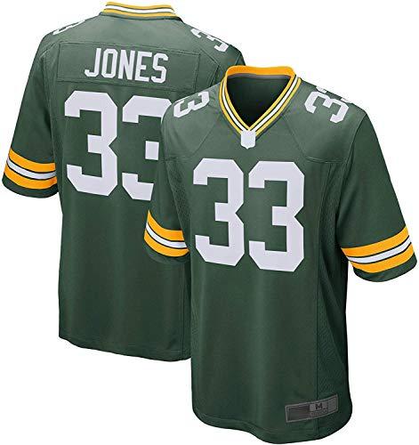ZQN Camiseta de fútbol Americano, 33 Verdes, Jones Packers Camiseta de Juego del Jugador de New repetible Formación de Limpieza Camisa,M