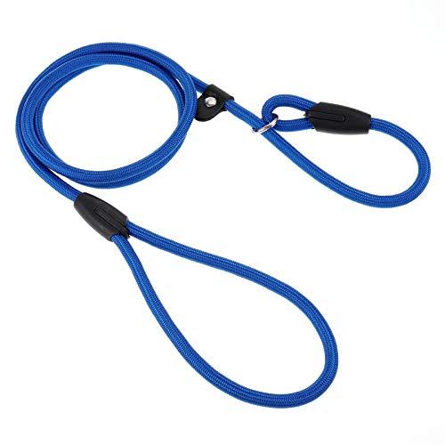 SUSSURRO - Guinzaglio per cane, in nylon, 1,3 m, con corda antiscivolo, 2 in 1, collare e guinzaglio per cani di piccola taglia media grossa (blu)