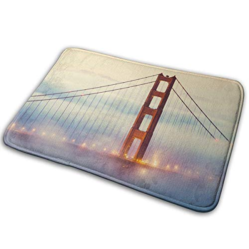 GSEGSEG Anti-Rutsch-Fußmatten Golden_Gate_Bridge-San_Francisco-Mist-Street_Light-Bridge Eingangs-Teppich für drinnen und draußen, feuchtigkeitsabsorbierend, waschbar, Schmutzfangmatten