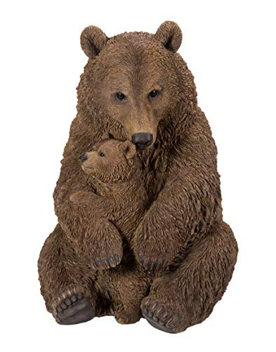 Real Life Mother & Baby Brown Bear | Highly Detailed Frost Resistant Resin Home or Garden Decoration | XRL-BBMB-B