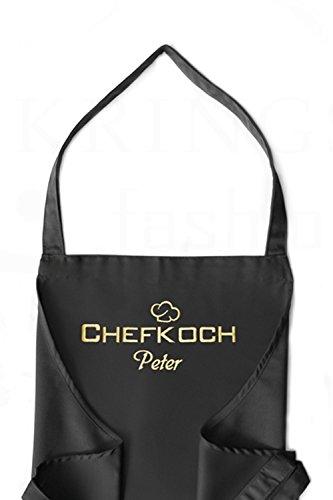 KringsFashion Latzschürze Chefkoch + Name, hochwertig Bestickt, schwarz, Kochschürze, Küchenschürze, Schürze und Stickerei deutsche Produktion;