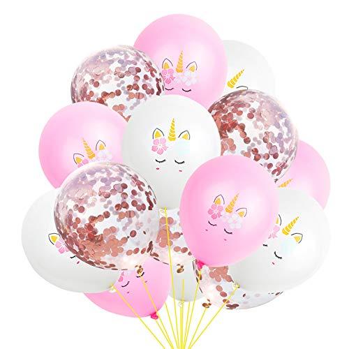 EZESO 12 Zoll Einhorn Konfetti Luftballons Set für Party Decor, Hochzeit Party Valentinstag Dekoration (E)