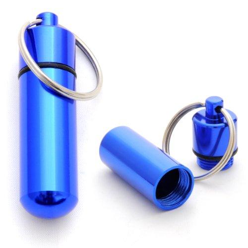 Ganzoo Pillen-Dose im 2er Set, Pillen-Box, Aluminium-Kapsel, Schlüssel-Anhänger Mini, wasserdicht, Farbe: blau, Höhe: 48 mm