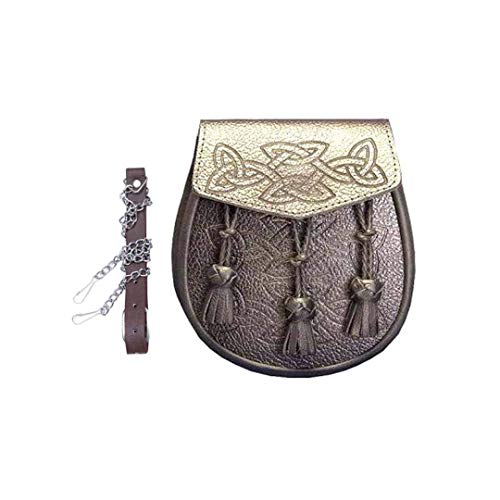 Brown Leather Sporran Celtic Embossed Genuine Leather Highland Dressing Part Gaelic Purse Leather Strap Metal Chain Scottish Wallet