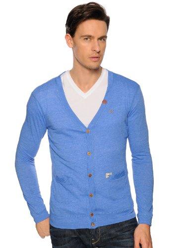 Khujo Herren Strickjacke 2181CA141 KAPUR, Gr. 50 (M), Blau (419 COBALT BLUE)