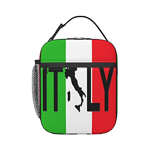 Donono Borsa portatile con manico a mani libere con fibbia bandiera italiana, con mappa italiana, isolata e termica da uomo, ragazza, per viaggi, picnic, lavoro, scuola, pesca