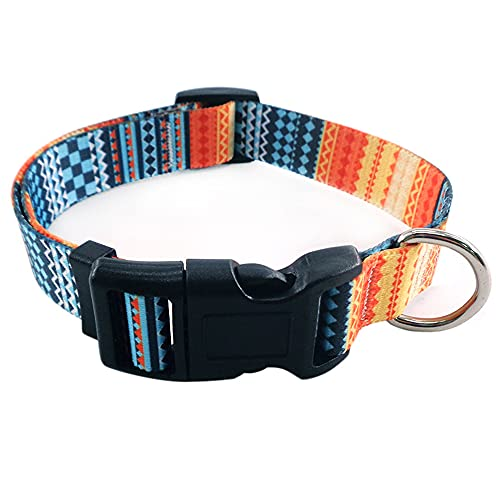 Collar para Perro,Collar Nylon Cómodos para mascotas con Hebilla Anillo D para Perros Pequeños, Medianos y Grandes,Ajustable y Resistente con Patrones de Moda (estilo B, L)