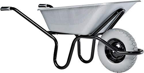 Haemmerlin Schubkarre Aktiv Excellium Plus 120 (Bauschubkarre mit Metallfelge, pannensicheres Rad, 120 Liter Mulde verzinkt)